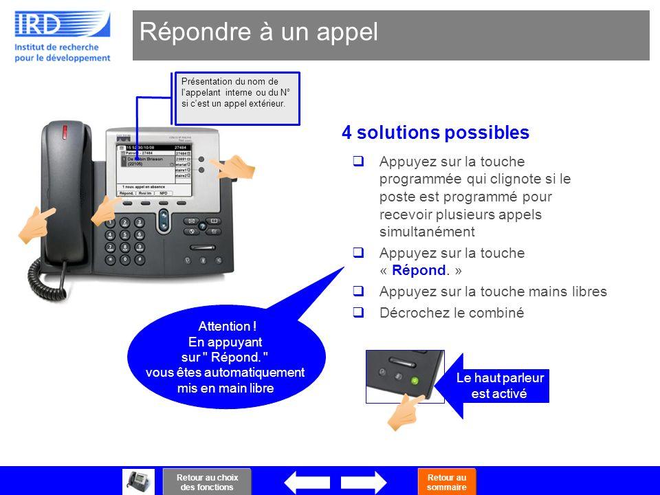 18 Répondre à un appel 4 solutions possibles Le haut parleur est activé Présentation du nom de l'appelant interne ou du N° si c'est un appel extérieur