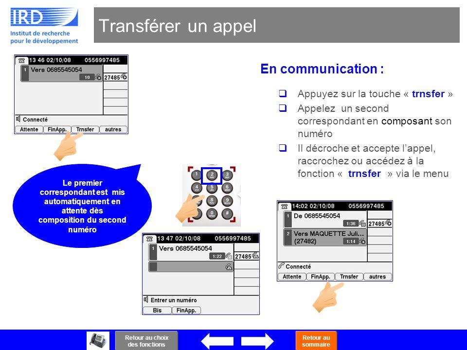 22 Transférer un appel En communication : Appuyez sur la touche « trnsfer » Appelez un second correspondant en composant son numéro Il décroche et acc
