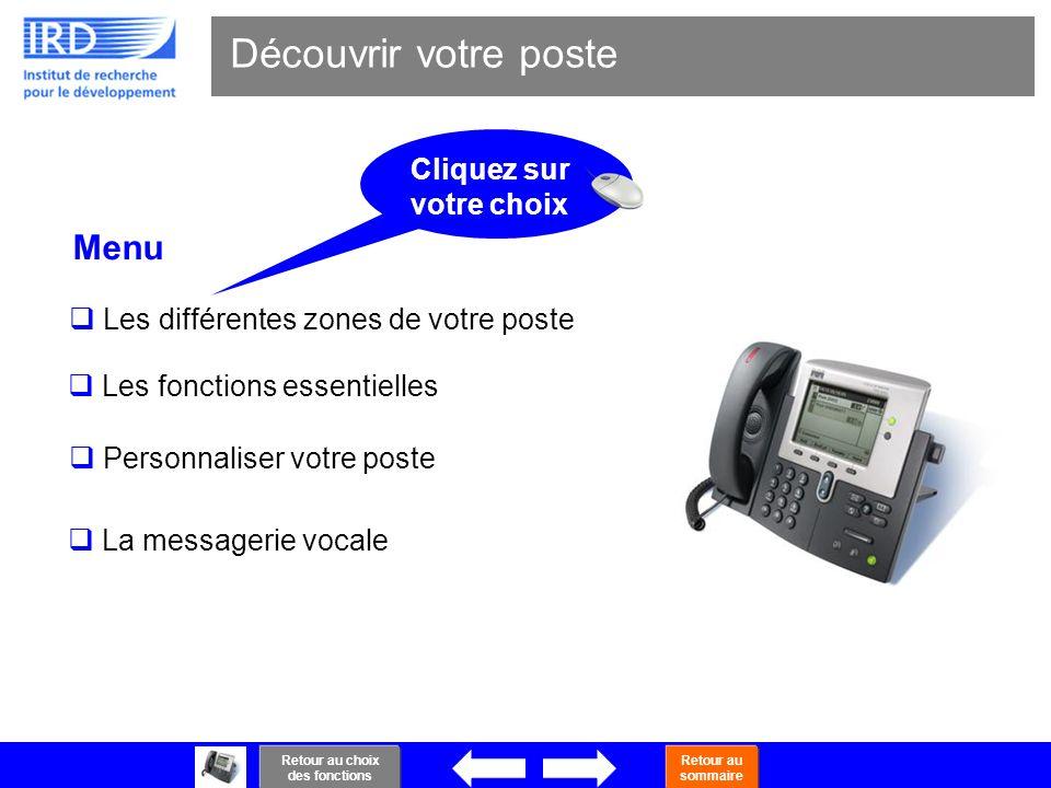 3 Découvrir votre poste Menu Les différentes zones de votre poste Les fonctions essentielles Personnaliser votre poste La messagerie vocale Retour au