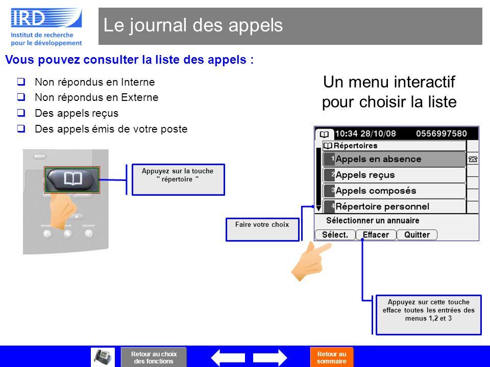 31 Le journal des appels Un menu interactif pour choisir la liste Vous pouvez consulter la liste des appels : Non répondus en Interne Non répondus en