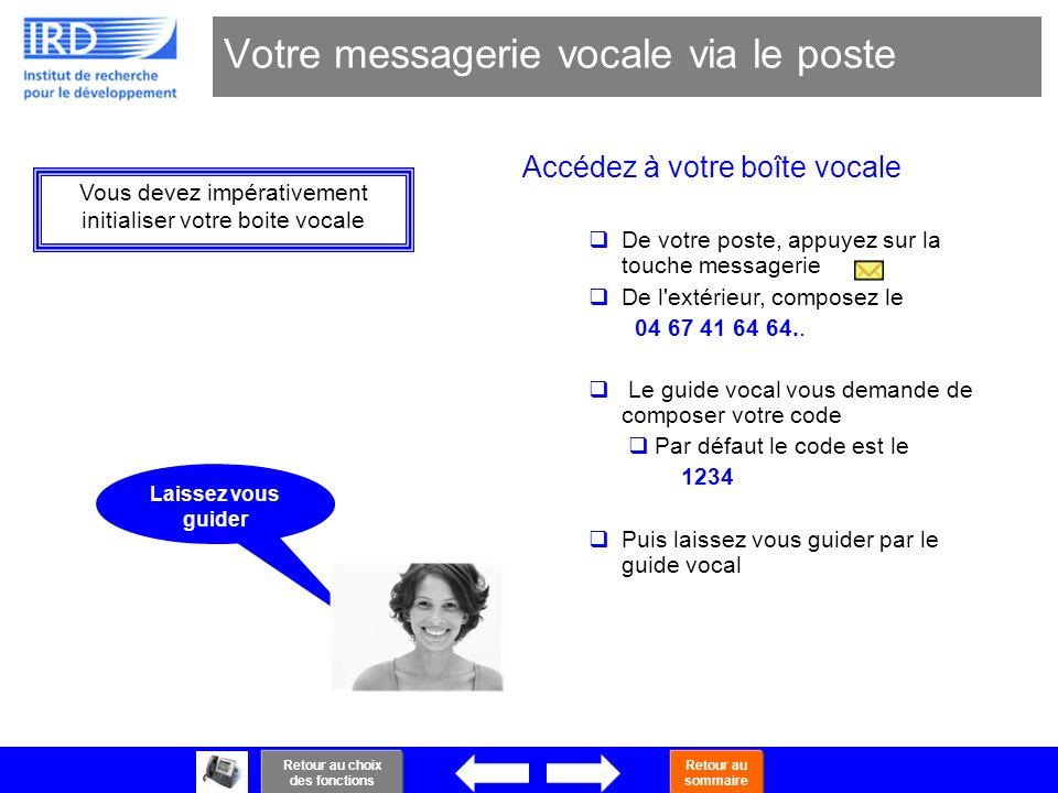 34 Votre messagerie vocale via le poste Accédez à votre boîte vocale De votre poste, appuyez sur la touche messagerie De l'extérieur, composez le 04 6