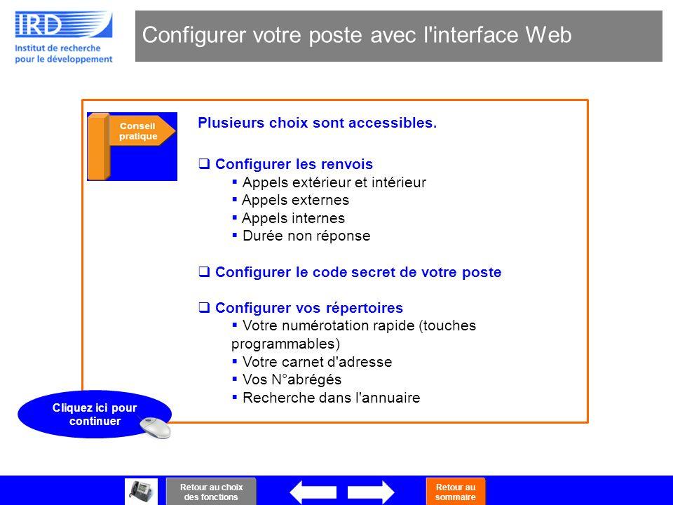 40 Configurer votre poste avec l'interface Web Plusieurs choix sont accessibles. Configurer les renvois Appels extérieur et intérieur Appels externes