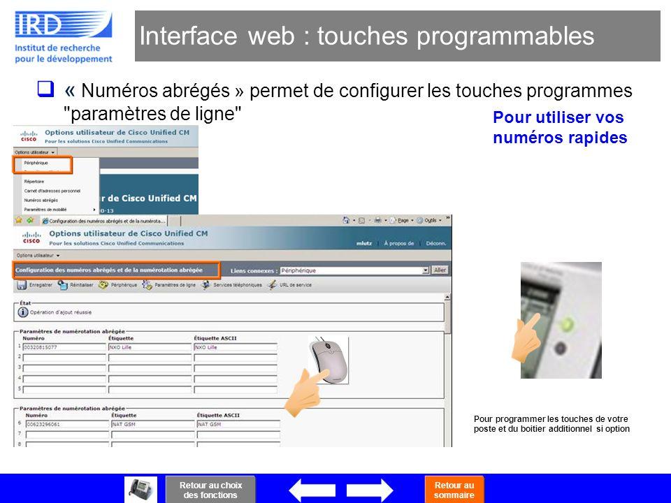 43 Interface web : touches programmables « Numéros abrégés » permet de configurer les touches programmes