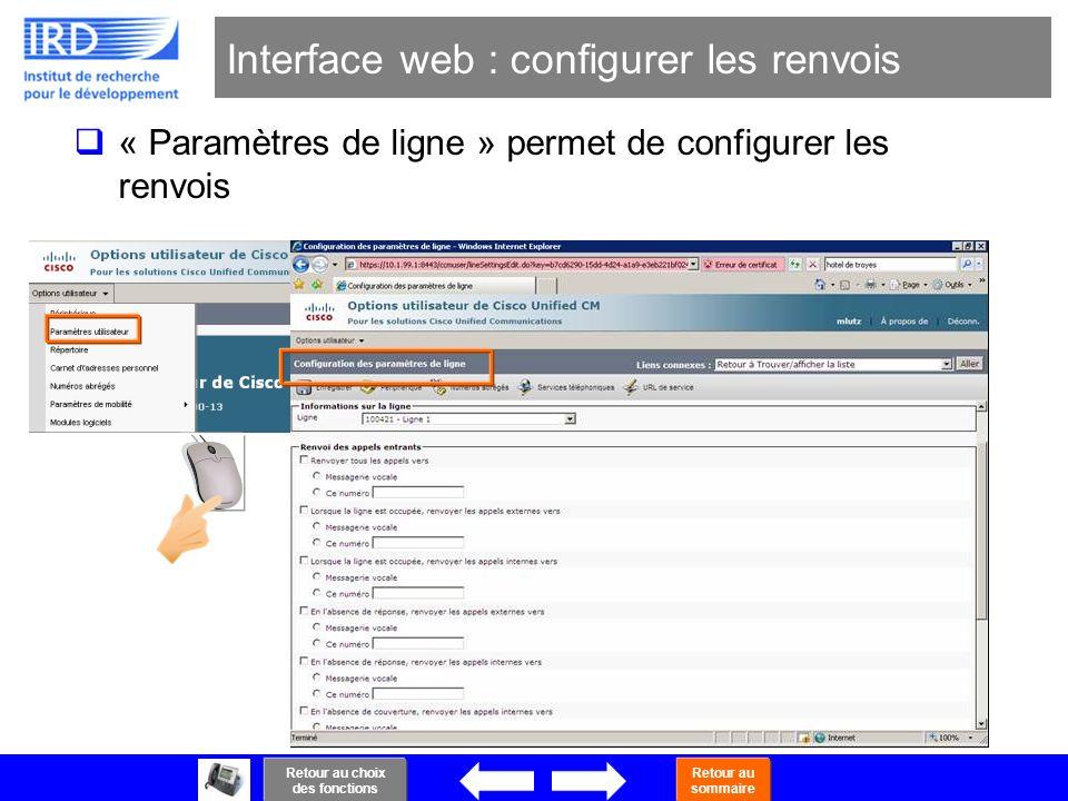 44 Interface web : configurer les renvois « Paramètres de ligne » permet de configurer les renvois Retour au choix des fonctions Retour au sommaire