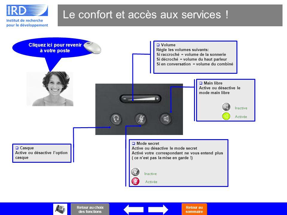 9 Le confort et accès aux services ! Activée Inactive Activée Inactive Main libre Active ou désactive le mode main libre Mode secret Active ou désacti