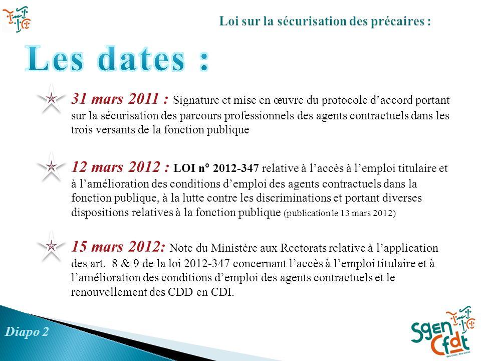 31 mars 2011 : Signature et mise en œuvre du protocole daccord portant sur la sécurisation des parcours professionnels des agents contractuels dans le