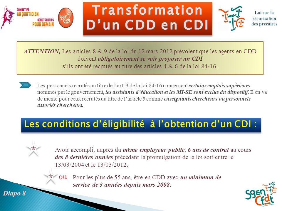 Les conditions déligibilité à lobtention dun CDI : Les personnels recrutés au titre de lart. 3 de la loi 84-16 concernant certains emplois supérieurs