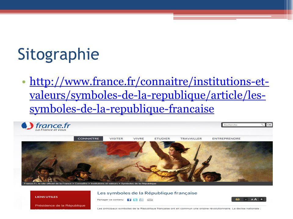 Sitographie http://www.france.fr/connaitre/institutions-et- valeurs/symboles-de-la-republique/article/les- symboles-de-la-republique-francaisehttp://www.france.fr/connaitre/institutions-et- valeurs/symboles-de-la-republique/article/les- symboles-de-la-republique-francaise