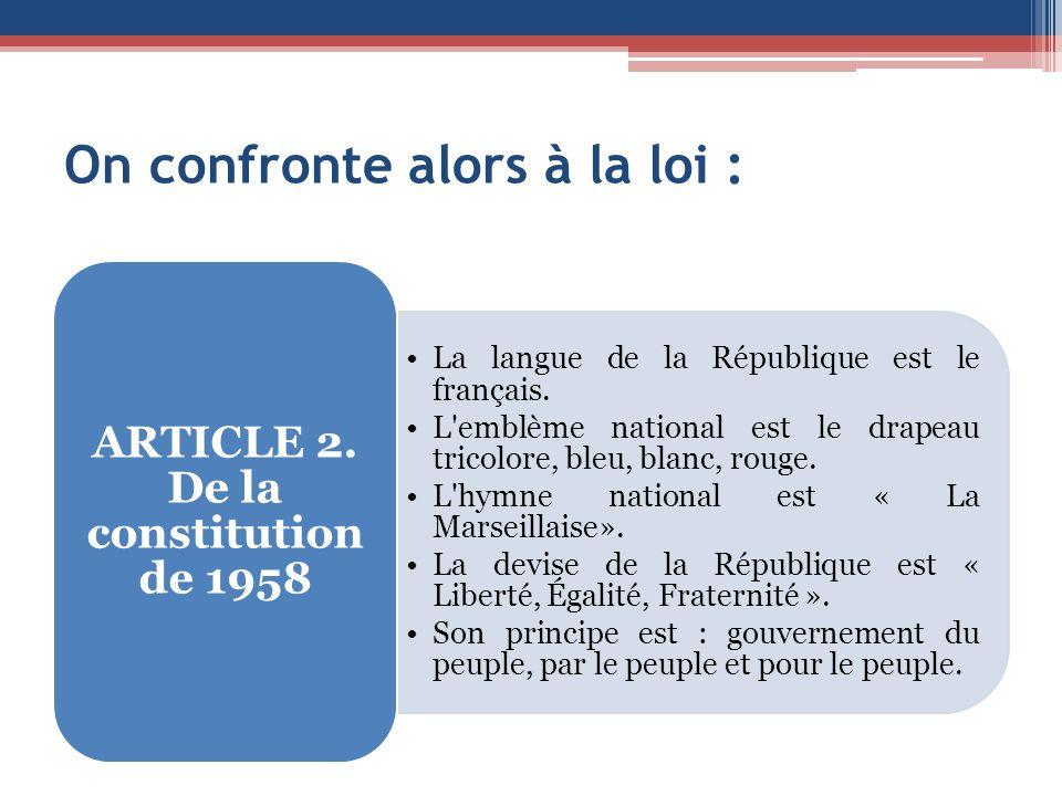 On confronte alors à la loi : La langue de la République est le français.