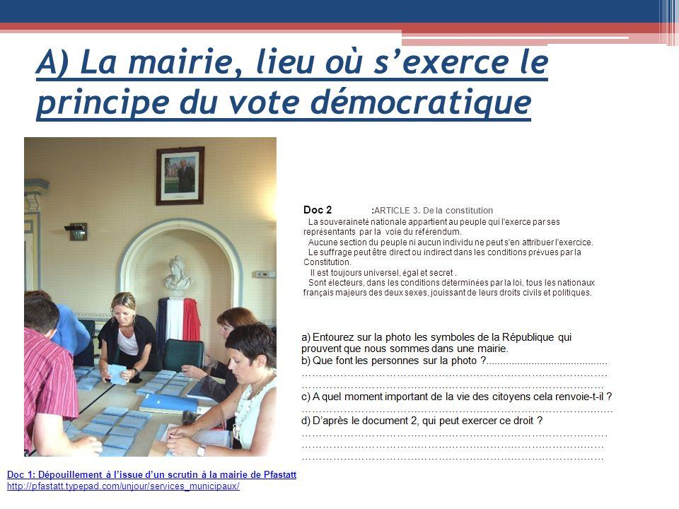 A) La mairie, lieu où sexerce le principe du vote démocratique Doc 1: Dépouillement à lissue dun scrutin à la mairie de Pfastatt http://pfastatt.typepad.com/unjour/services_municipaux/ Doc 2 : ARTICLE 3.