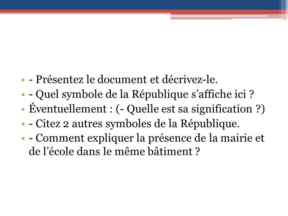 - Présentez le document et décrivez-le.- Quel symbole de la République saffiche ici .