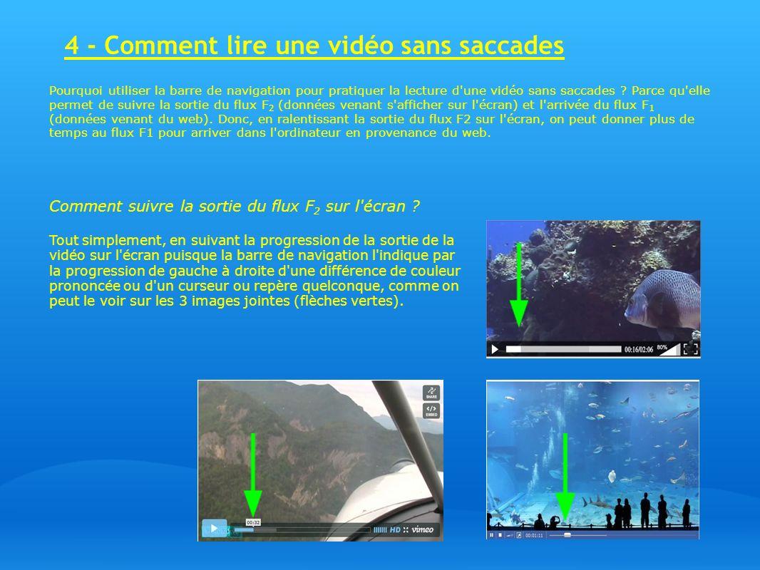 4 - Comment lire une vidéo sans saccades Pourquoi utiliser la barre de navigation pour pratiquer la lecture d'une vidéo sans saccades ? Parce qu'elle