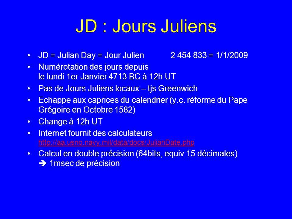 JD : Jours Juliens JD = Julian Day = Jour Julien 2 454 833 = 1/1/2009 Numérotation des jours depuis le lundi 1er Janvier 4713 BC à 12h UT Pas de Jours