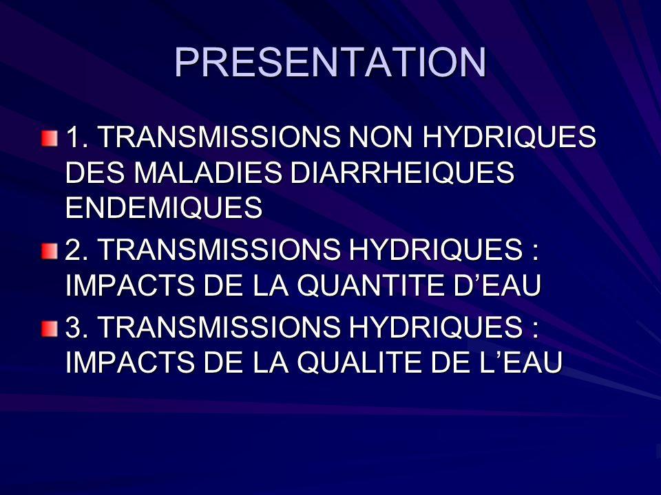 PRESENTATION 1. TRANSMISSIONS NON HYDRIQUES DES MALADIES DIARRHEIQUES ENDEMIQUES 2. TRANSMISSIONS HYDRIQUES : IMPACTS DE LA QUANTITE DEAU 3. TRANSMISS