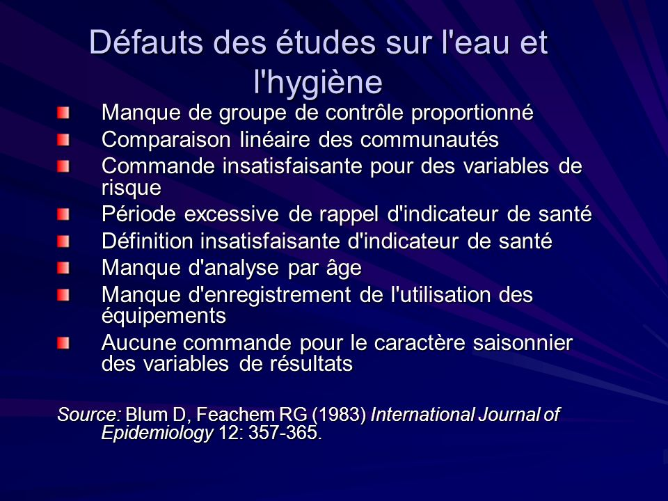 Rentabilité de l eau, d hygiène et d hygiène comme interventions de santé (US $ / DALY) Source: Disease Control Priorities in Developing Countries, 2 nd edition 2006 (www.dcp2.org) – Chapter 41www.dcp2.org