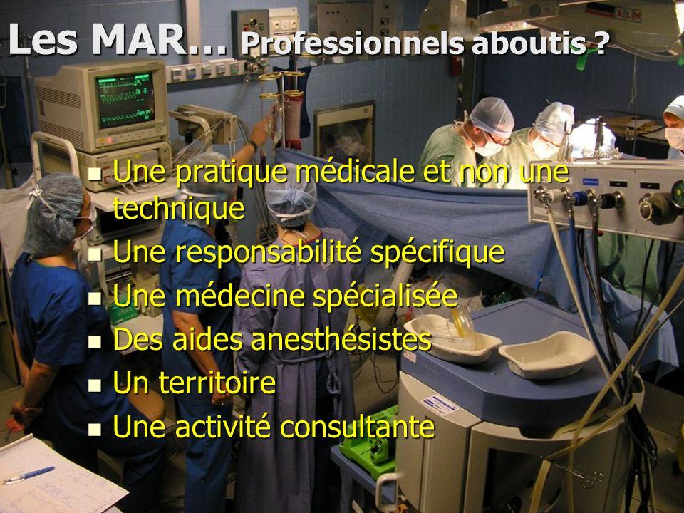 Les MAR… Professionnels aboutis ? Une pratique médicale et non une technique Une pratique médicale et non une technique Une responsabilité spécifique