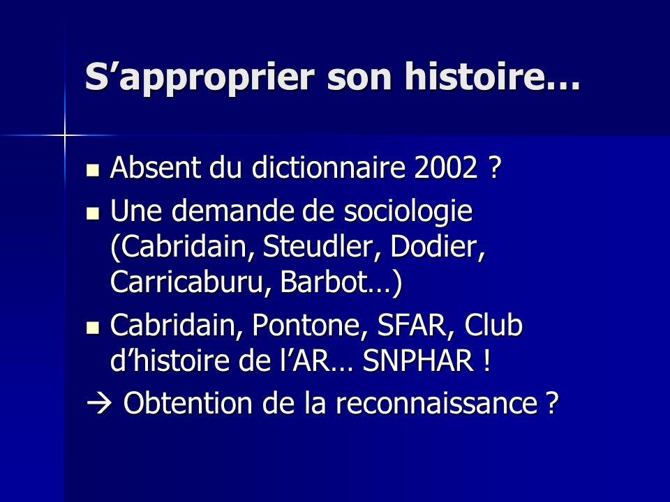 Sapproprier son histoire… Absent du dictionnaire 2002 ? Absent du dictionnaire 2002 ? Une demande de sociologie (Cabridain, Steudler, Dodier, Carricab