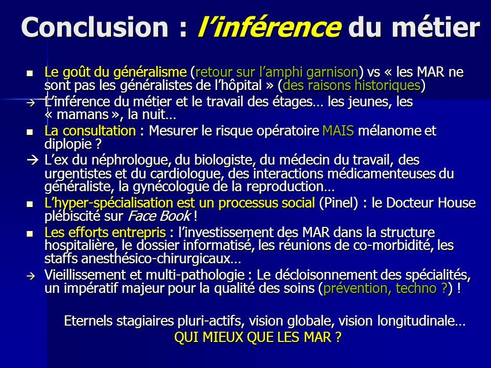 Conclusion : linférence du métier Le goût du généralisme (retour sur lamphi garnison) vs « les MAR ne sont pas les généralistes de lhôpital » (des rai