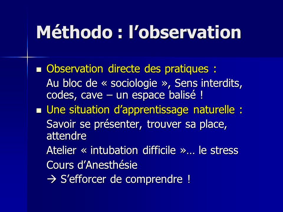 Méthodo : lobservation Observation directe des pratiques : Observation directe des pratiques : Au bloc de « sociologie », Sens interdits, codes, cave