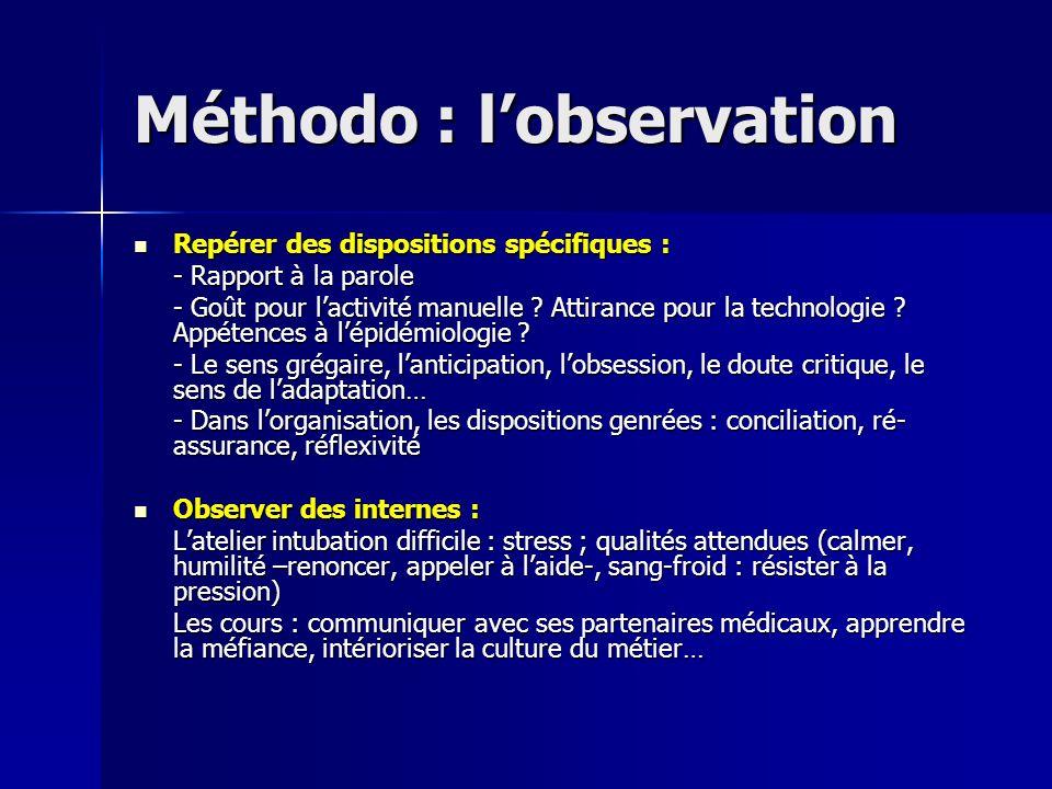 Méthodo : lobservation Repérer des dispositions spécifiques : Repérer des dispositions spécifiques : - Rapport à la parole - Goût pour lactivité manue