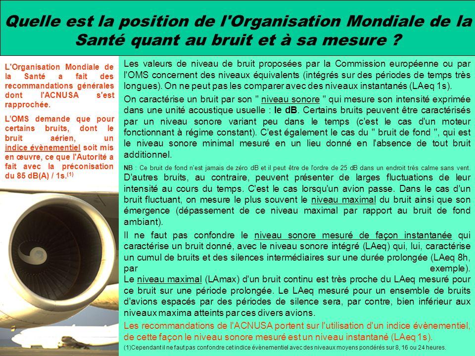 Les valeurs de niveau de bruit proposées par la Commission européenne ou par l'OMS concernent des niveaux équivalents (intégrés sur des périodes de te