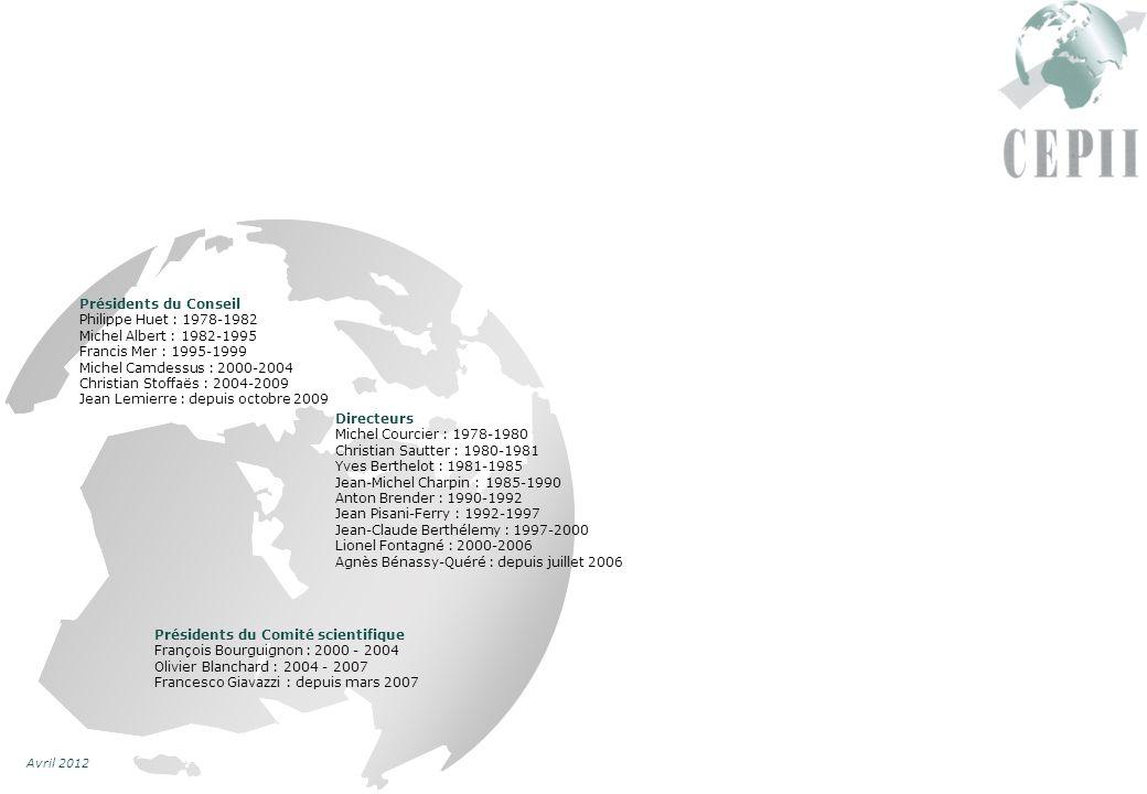 Avril 2012 Présidents du Conseil Philippe Huet : 1978-1982 Michel Albert : 1982-1995 Francis Mer : 1995-1999 Michel Camdessus : 2000-2004 Christian Stoffaës : 2004-2009 Jean Lemierre : depuis octobre 2009 Présidents du Comité scientifique François Bourguignon : 2000 - 2004 Olivier Blanchard : 2004 - 2007 Francesco Giavazzi : depuis mars 2007 Directeurs Michel Courcier : 1978-1980 Christian Sautter : 1980-1981 Yves Berthelot : 1981-1985 Jean-Michel Charpin : 1985-1990 Anton Brender : 1990-1992 Jean Pisani-Ferry : 1992-1997 Jean-Claude Berthélemy : 1997-2000 Lionel Fontagné : 2000-2006 Agnès Bénassy-Quéré : depuis juillet 2006
