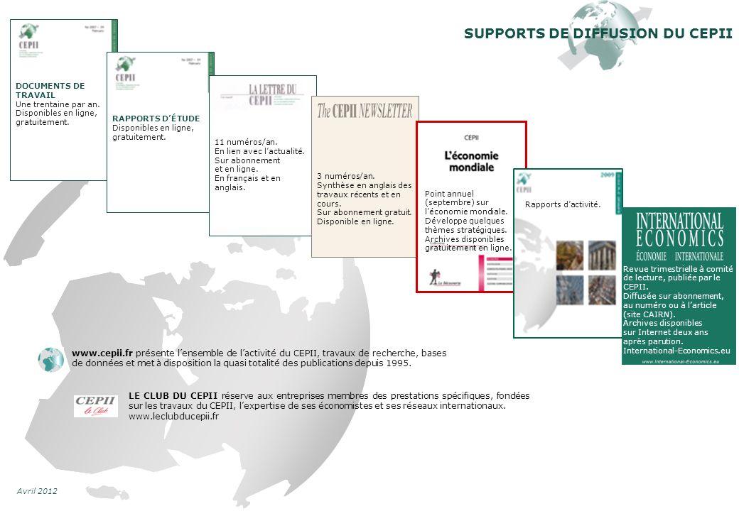 Avril 2012 www.cepii.fr présente lensemble de lactivité du CEPII, travaux de recherche, bases de données et met à disposition la quasi totalité des publications depuis 1995.