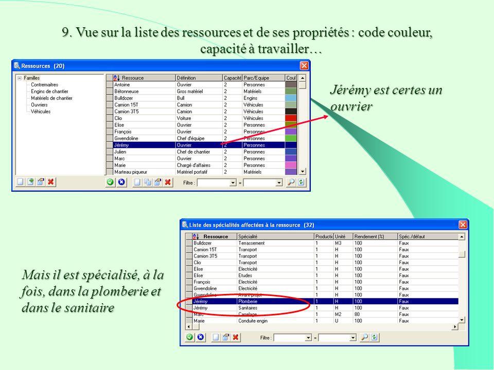 9. Vue sur la liste des ressources et de ses propriétés : code couleur, capacité à travailler… Jérémy est certes un ouvrier Mais il est spécialisé, à