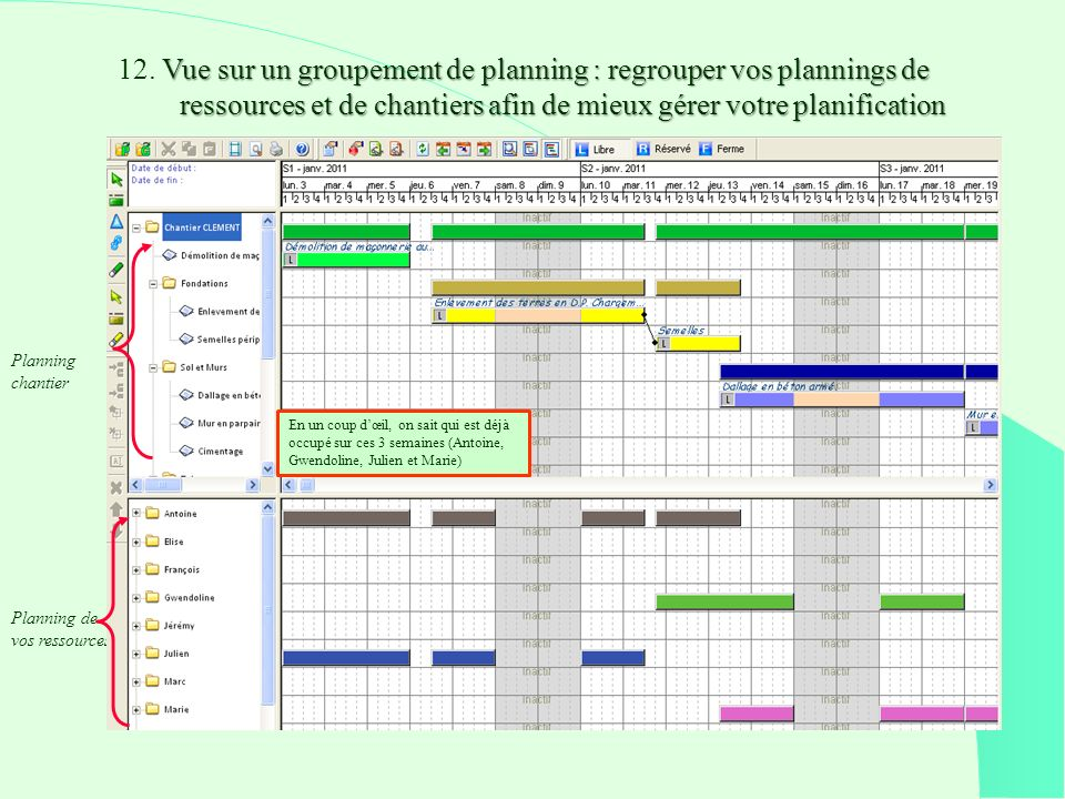 Vue sur un groupement de planning : regrouper vos plannings de ressources et de chantiers afin de mieux gérer votre planification 12.
