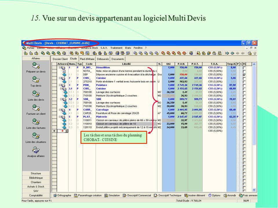 Vue sur un devis appartenant au logiciel Multi Devis 15.
