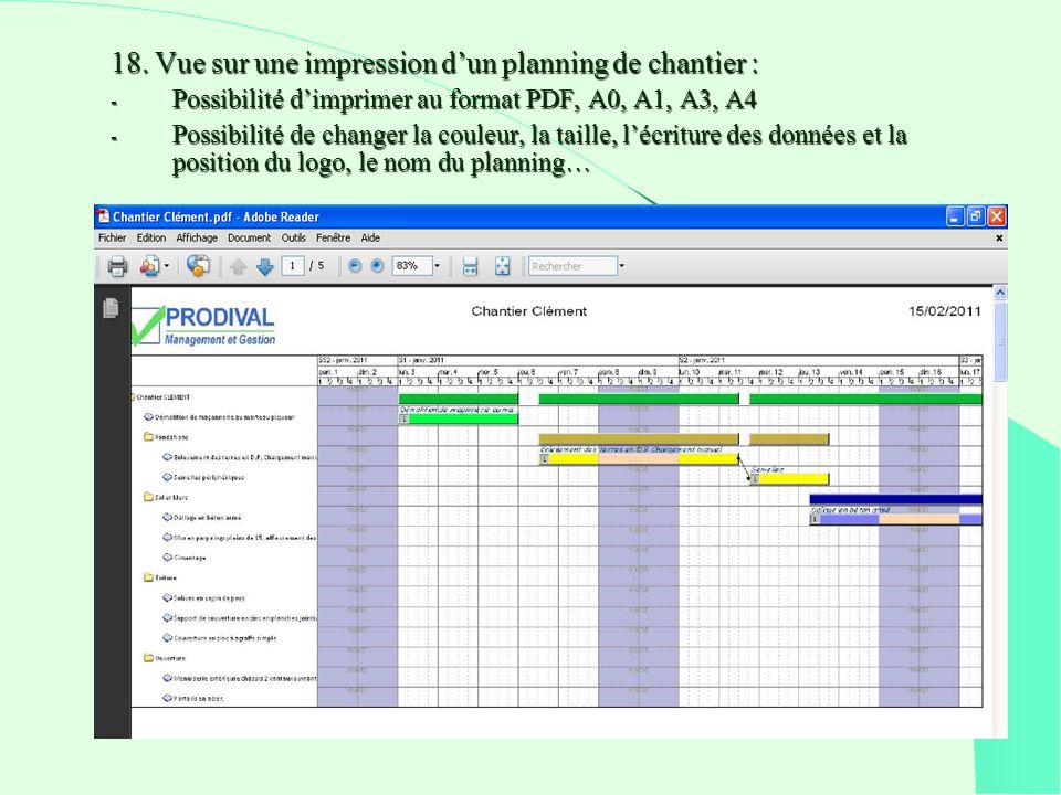 18. Vue sur une impression dun planning de chantier : - Possibilité dimprimer au format PDF, A0, A1, A3, A4 - Possibilité de changer la couleur, la ta