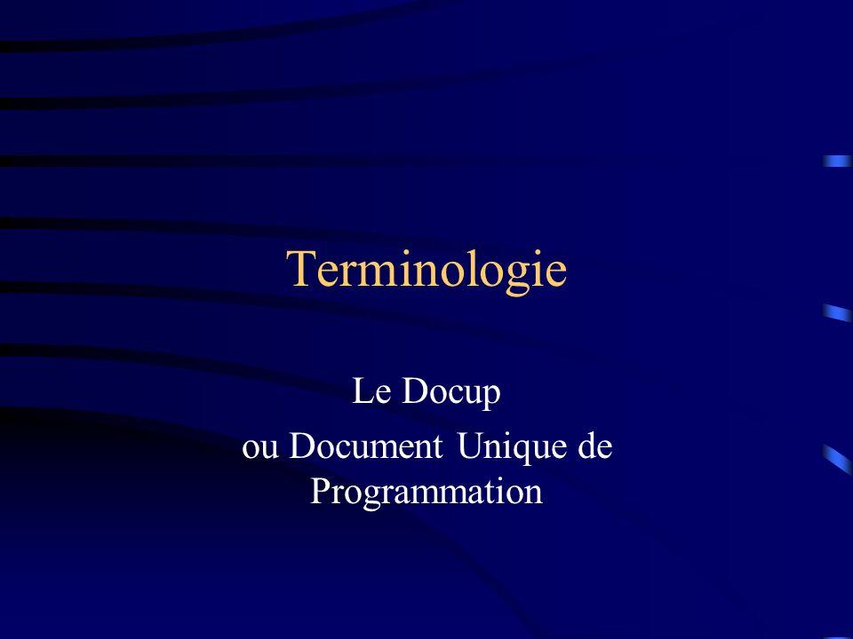 Terminologie Le Docup ou Document Unique de Programmation