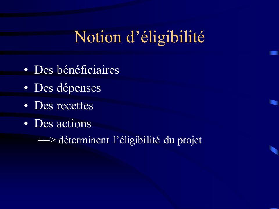 Notion déligibilité Des bénéficiaires Des dépenses Des recettes Des actions ==> déterminent léligibilité du projet