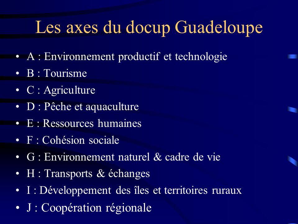 Les axes du docup Guadeloupe A : Environnement productif et technologie B : Tourisme C : Agriculture D : Pêche et aquaculture E : Ressources humaines F : Cohésion sociale G : Environnement naturel & cadre de vie H : Transports & échanges I : Développement des îles et territoires ruraux J : Coopération régionale