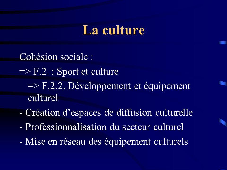 La culture Cohésion sociale : => F.2.: Sport et culture => F.2.2.