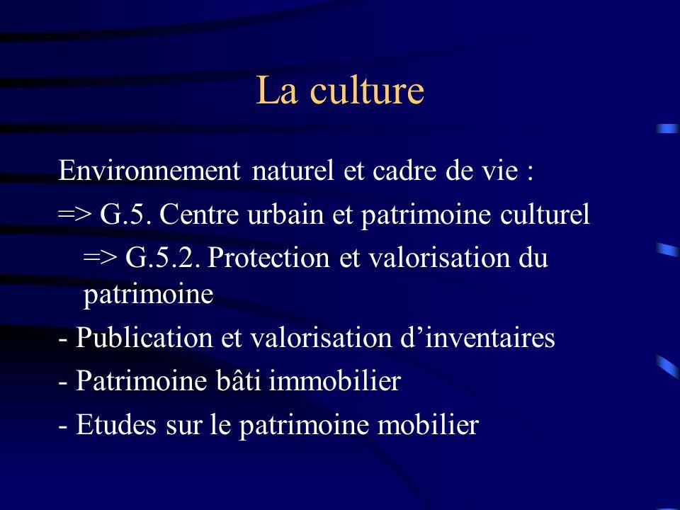 La culture Environnement naturel et cadre de vie : => G.5.