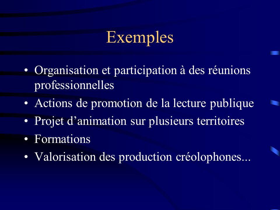 Exemples Organisation et participation à des réunions professionnelles Actions de promotion de la lecture publique Projet danimation sur plusieurs territoires Formations Valorisation des production créolophones...