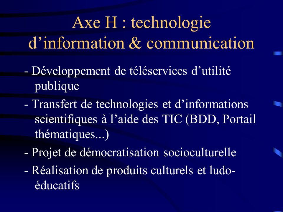 Axe H : technologie dinformation & communication - Développement de téléservices dutilité publique - Transfert de technologies et dinformations scientifiques à laide des TIC (BDD, Portail thématiques...) - Projet de démocratisation socioculturelle - Réalisation de produits culturels et ludo- éducatifs