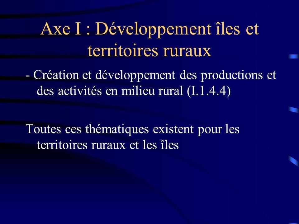 Axe I : Développement îles et territoires ruraux - Création et développement des productions et des activités en milieu rural (I.1.4.4) Toutes ces thématiques existent pour les territoires ruraux et les îles