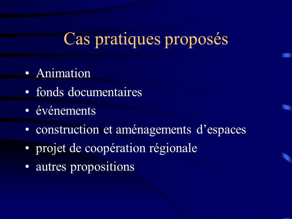 Cas pratiques proposés Animation fonds documentaires événements construction et aménagements despaces projet de coopération régionale autres propositions