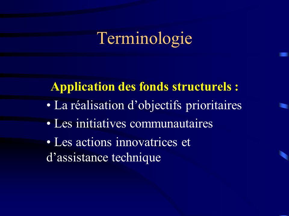 Terminologie Application des fonds structurels : La réalisation dobjectifs prioritaires Les initiatives communautaires Les actions innovatrices et dassistance technique