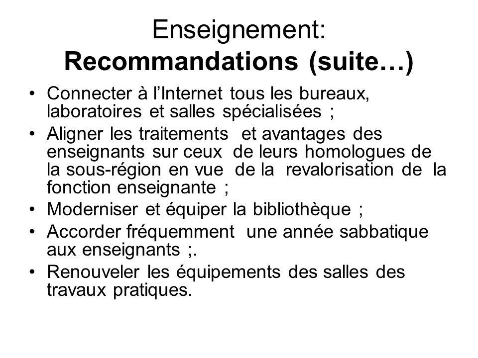 Enseignement: Recommandations (suite…) Connecter à lInternet tous les bureaux, laboratoires et salles spécialisées ; Aligner les traitements et avanta