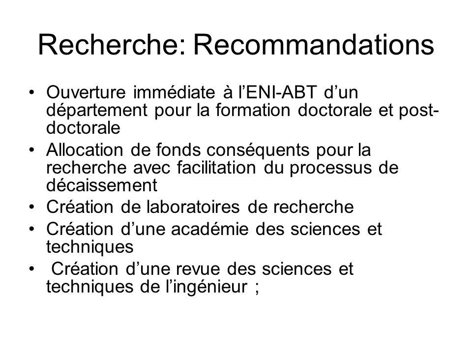 Recherche: Recommandations Ouverture immédiate à lENI-ABT dun département pour la formation doctorale et post- doctorale Allocation de fonds conséquen