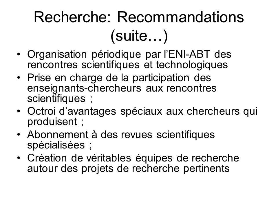 Recherche: Recommandations (suite…) Organisation périodique par lENI-ABT des rencontres scientifiques et technologiques Prise en charge de la particip