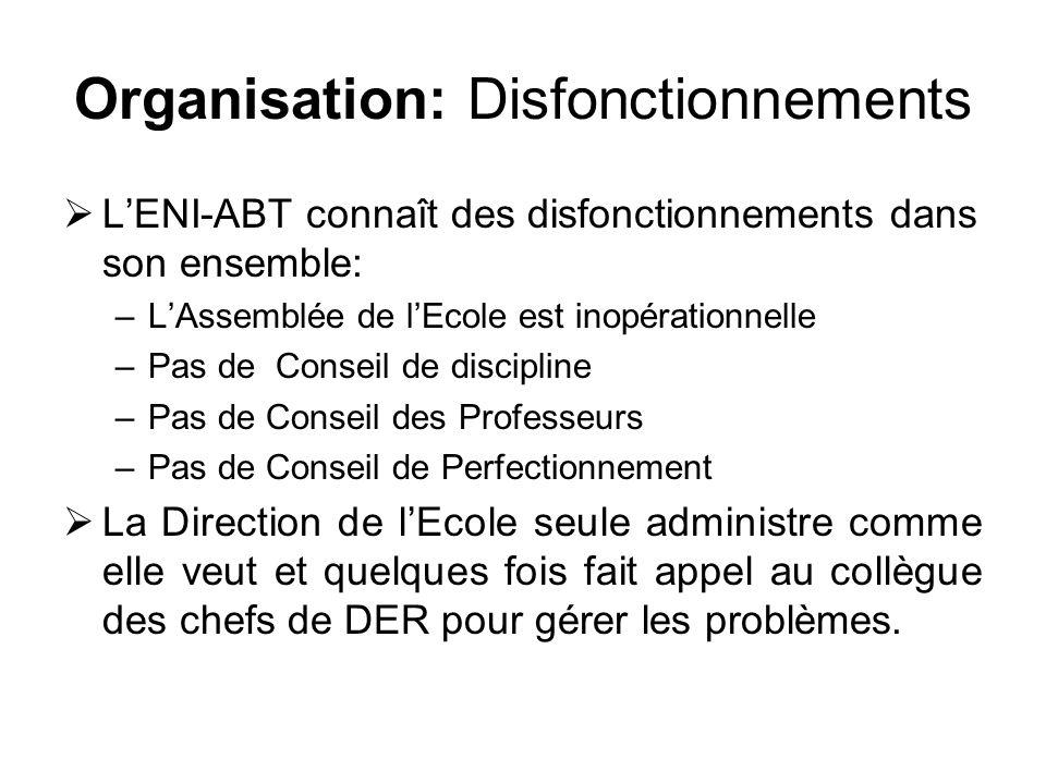 Organisation: Disfonctionnements LENI-ABT connaît des disfonctionnements dans son ensemble: –LAssemblée de lEcole est inopérationnelle –Pas de Conseil
