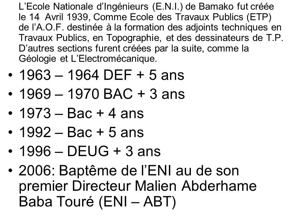 LEcole Nationale dIngénieurs (E.N.I.) de Bamako fut créée le 14 Avril 1939, Comme Ecole des Travaux Publics (ETP) de lA.O.F. destinée à la formation d