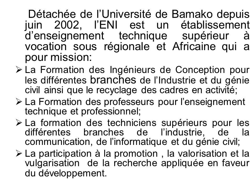 Détachée de lUniversité de Bamako depuis juin 2002, lENI est un établissement denseignement technique supérieur à vocation sous régionale et Africaine