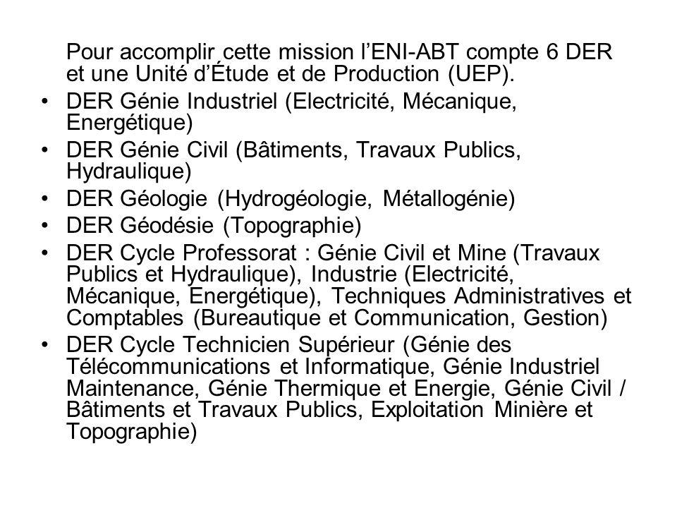 Pour accomplir cette mission lENI-ABT compte 6 DER et une Unité dÉtude et de Production (UEP). DER Génie Industriel (Electricité, Mécanique, Energétiq