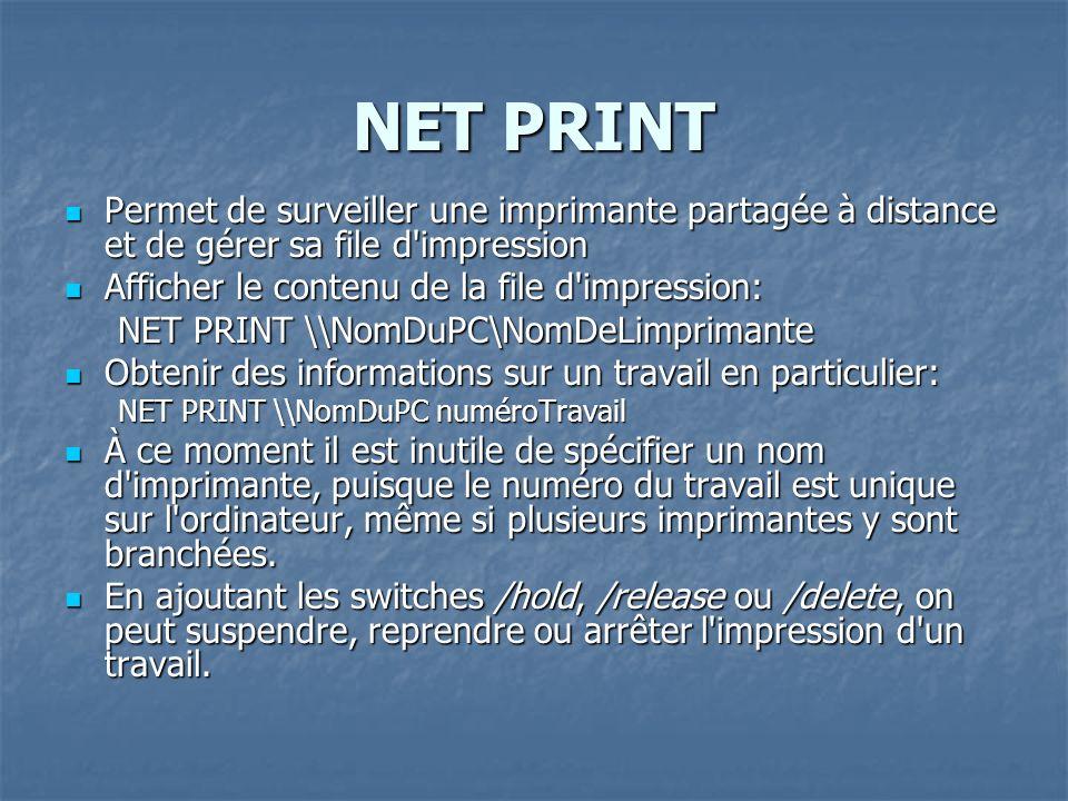 NET PRINT Permet de surveiller une imprimante partagée à distance et de gérer sa file d'impression Permet de surveiller une imprimante partagée à dist