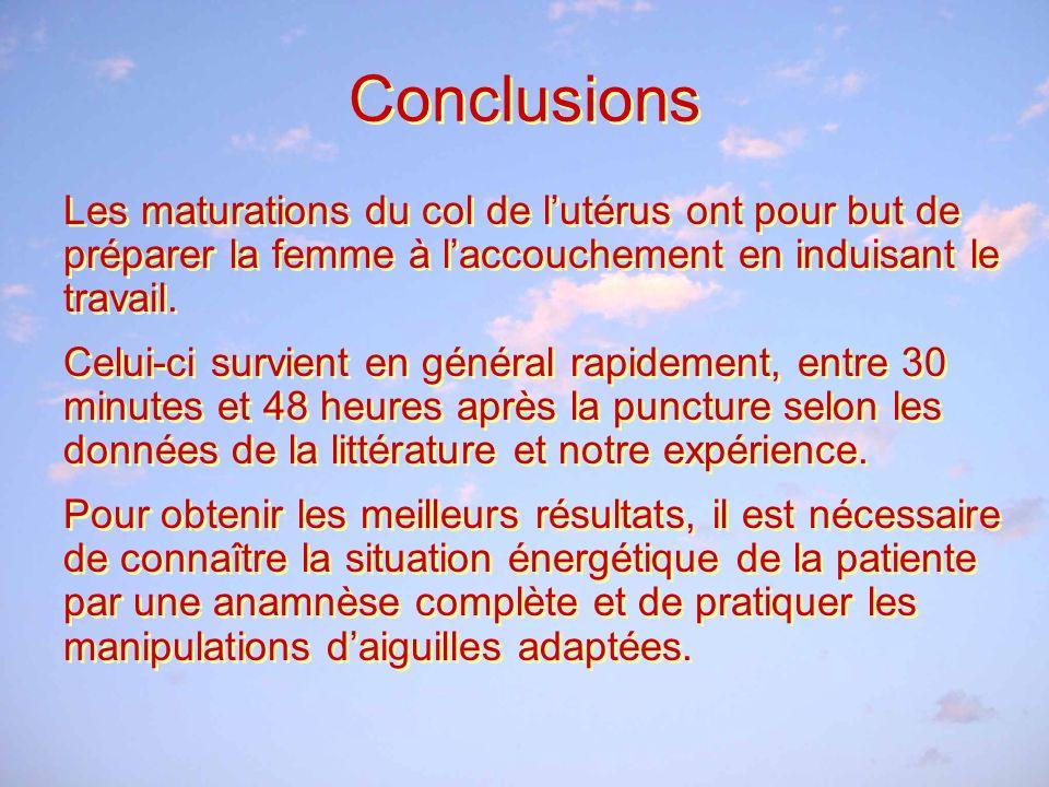 Conclusions Les maturations du col de lutérus ont pour but de préparer la femme à laccouchement en induisant le travail.